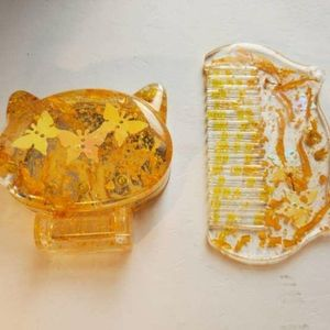 Resin Vanity and Comb set Yellow skies